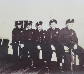 Monroe Police Officers 1951 or 1952, Amandus Ulrich, Lloyd Chamberlain, George Etch, George Alshiemer and Jack Eichel