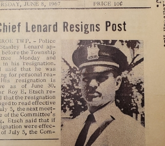 Newspaper article dated Thursday, June 8, 1967 containing an article about Chief Stanley Lenard's resignation