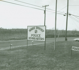 Monroe Township Police Department sign for Police Headquarters located on Spotswood Englishtown Road